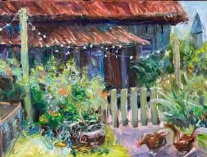 Jennies Cottage with Chickens by Eleanor Dixon Stecker Open065