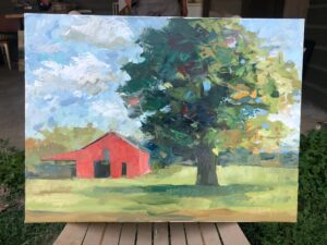 Tree with Barn by Larry Smith 2