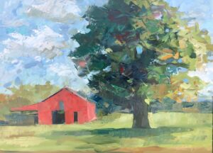Tree with Barn by Larry Smith Open037